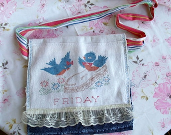 Messenger Bag Handmade Using Vintage Elements, Shoulder Bag, Adjustable Straps, Fanny Pack Apron, Blue Birds Vintage Towel & Lace