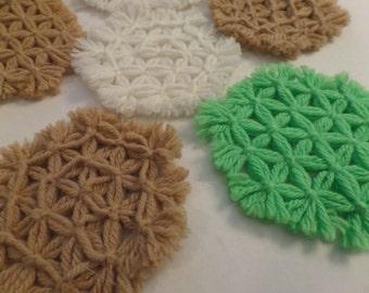 Vintage Crocheted Coasters Set of 9 Fiber Art Granny Cottage Chic Boho Style
