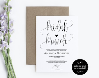 Printable Bridal Brunch Invitation - Bridal Shower Template - Kraft Paper Bridal Brunch Invite - PDF Instant DOWNLOAD editable #WDH301_21