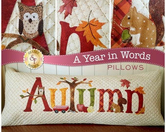 A Year In Words, Pillow Pattern, September Pillow Pattern, Fall word pillow, Autumn Word Pillow, by Shabby Fabrics, SF49831