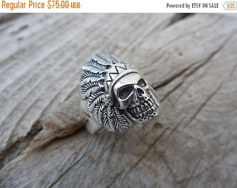 ON SALE Indian skull ring handmade in sterling silver