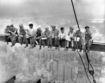 Canvas Gallery Wrap Giclee Lunch atop a skyscraper black and white men on a beam