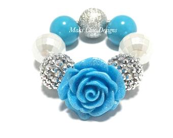 Toddler or Girls Chunky Flower Bracelet - Blue Flower Bracelet - Blue, White and Silver Bracelet - Princess Rose Bracelet - Flower girl