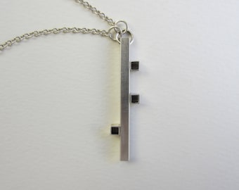 Long Bar Necklace silver tube asymmetric cubes modern geometric handfabricated