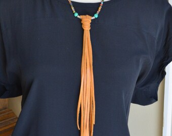 Long Fringe Leather Necklace, Festival, Western