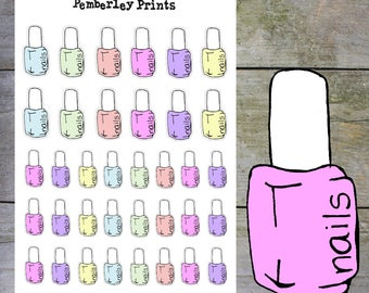 Nail Polish Planner Stickers // Hand Drawn Pastel Nail Polish Bottle Stickers Perfect for Planning // HD50
