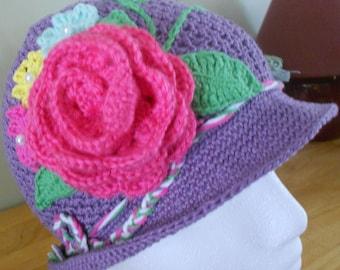 Girls Flower Brimmed Hat
