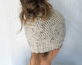Messy Bun Hat, Messy Bun Beanie, Ponytail Hat, Hats for Ponytails, Winter Hat, Gifts for Her, Women's Fashion, Teenager Gift