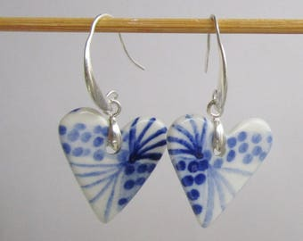 Two sided Blue and white Heart shaped Porcelain earrings on  925  Silver Earring Hooks - Dutch  Blue - Delft