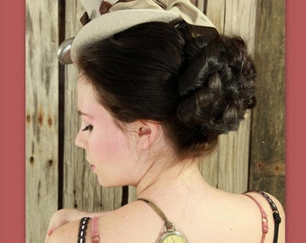 bridal wedding accessory hair piece hairpiece formal hair bun Updo steampunk victorian costume wig hair accessory your hair color