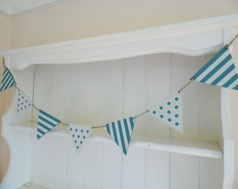 Teal Spots and Stripes Bunting-Hand Painted Wood Garland-Reversible-Home Decor-Nursery Decor-Beach Wedding Decor-Gift for Her-Gift for Teens
