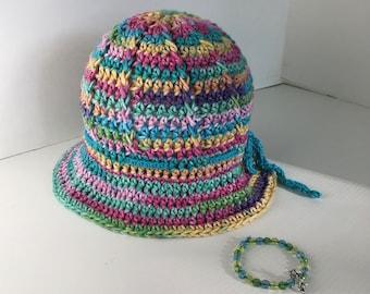 Child's Summer Hat, Crochet Summer Hat,Bracelet with Charm, Unicorn Hat,Cotton Sun Hat,Unicorn Charm, Child's Bracelet, Birthday Gift