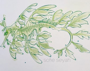Green Leafy Seadragon - Sofie Seyah Ink and Watercolour Nautical Illustration - Nursery Art - Art Print