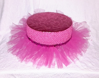 TUTU CAKE STAND Fischia Pink (12 Inch) With Sequence And Fluffy Tulle Five Sizes 8, 10, 12, 14, 16 Inches