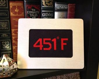 Fahrenheit 451 - Ray Bradbury Minimalist Number Series framed cross stitch