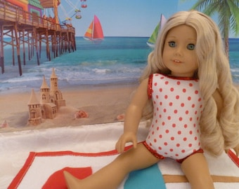 18 Inch Doll One Piece Bathing Suit and Beach Towel, Hand Made Red & White Polka Dot Swimsuit and Beach Towel fits American Girl dolls