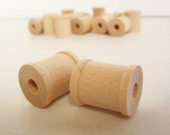 """25 Miniature Wooden Spools  3/4"""" x 5/8""""  x 7/32"""" hole -Wooden Spools Decorative -Small Spools -Natural Wooden Spools"""