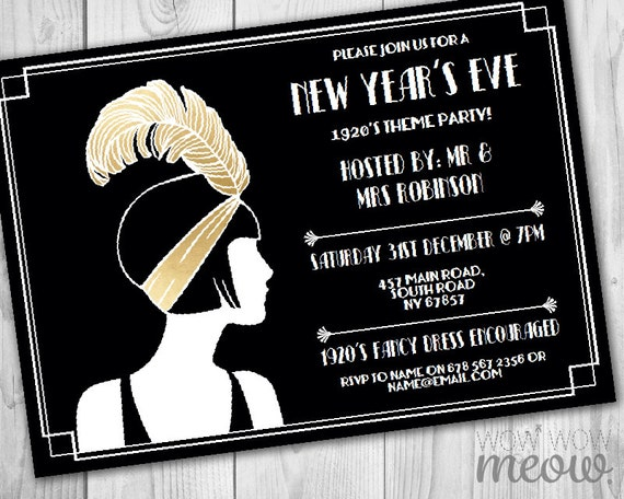 New Year's Eve Gatsby Party Invitations Black Gold Roaring