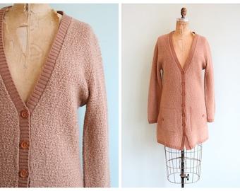 Vintage 1960's Long Knit Cardigan   Size Medium