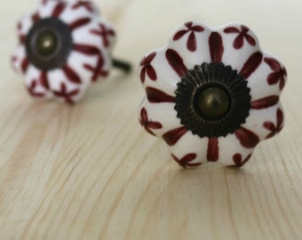 Burgundy Red Ceramic Cabinet Knob