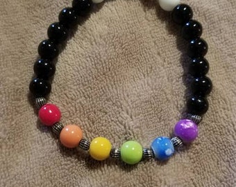Chakra Stones with Black and White Glass Beads