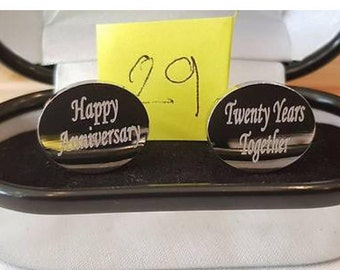 Personalised Anniversary cufflinks 20th with Gift Box 152591979546
