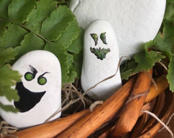 Miniature Halloween Painted Stone Ghosts with glow in the dark eyes