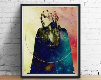 Sacred Stevie Nicks Print, Fleetwood Mac ORIGINAL Art, Sacred Geometry Gold Galaxy Art Print Poster Vintage Boho Home Decor Wedding Wall Art