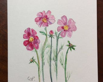 Dainty Pink Cosmos Watercolor Card  / Hand Painted Watercolor Card