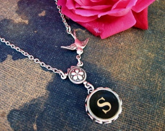 Typewriter Jewelry, Antique Typewriter Key Necklace Letter S with Bird, Typewriter Charm Necklace
