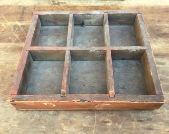 Antique Wood Sorting Box 6 Compartments