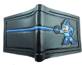 MegaMan - sprite - Leather Bifold Wallet - Handcrafted Wallet -