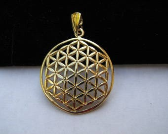 14K Gold Large Flower of Life Pendant, Original Flower of Life Charm, Real Gold, Sacred Geometry Jewelry