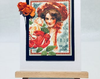 Female birthday card with vintage lady and bunch of orange roses.