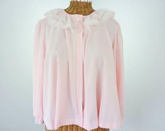 Miss Elaine Pink Nylon Bed Jacket ILGWU Union Made Unworn Large