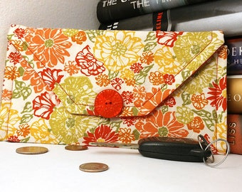 Orange, Yellow, & Red Floral Themed Tri Fold Wallet/Women's Clutch/Handmade Fabric Accessory/Credit Card Holder/ONE-OF-A-KIND