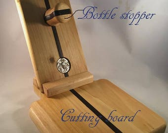 wine bottle holder, cheese cutting board, bottle stopper, handmade