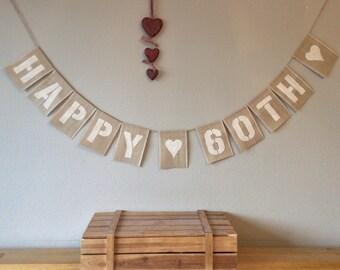 60th Birthday Bunting Banner. vintage Hessian Burlap Bunting