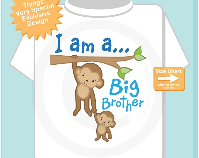 I am a Big Brother Shirt or Onesie, Personalized Big Brother, Monkey Shirt with Little Baby monkey 04072015k