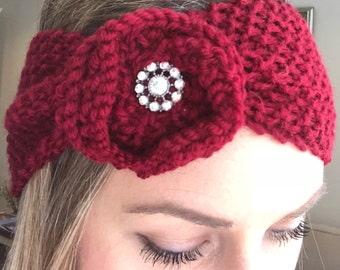 Red Rose Ear Warmer Headband