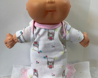 "Cabbage Patch NEWBORN 12 inch Doll Clothes, Super Cute ""TEDDY BEARs on Swings"" Nightgown, 12 inch Newborn Doll Clothes Nightgown"
