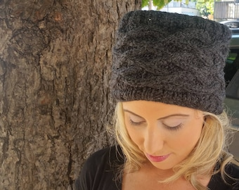 Lattice Bunless Hat- Charcoal