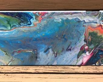 Colorful acyrlic pour painting, blue, green, pink, orange, 10x20 inches, fluid acrylic, abstract art