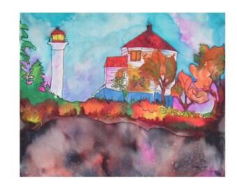 Georgina Point Lighthouse, Art card, blank greeting card