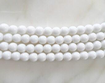 8mm White Czech Glass Round Beads