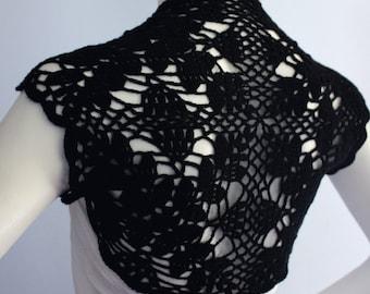 Black Silk Bamboo wedding Shrug hand knit /crochet Lacy Lace bolero Size M