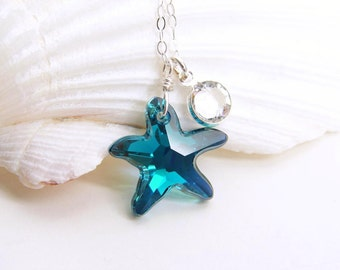 Swarovski Starfish Necklace ~ Crystal Starfish ~ RARE Indicolite AB Starfish ~ Bridesmaid Gift ~ Gift for Her ~ Gift for Mom ~ Simple Modern