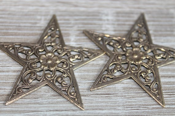 Vintage Bronze Filigree Star Stampings Finding or Embellishment  2 pc lot
