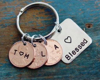 Mom Penny Keychain, Blessed Family Keychain, Wife Anniversary Gift, Initials Keychain, Stamped Penny, Lucky Penny, Mom Gifts, Mom Birthday