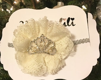 Tiara headband, special occasion headband, Elastic Headband, baby Headband, infant Headband, silver Headband, crown headband
